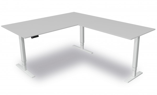 elektrisch höhenverstellbarer Winkelschreibtisch weiß Kerkmann Move 4 200x220