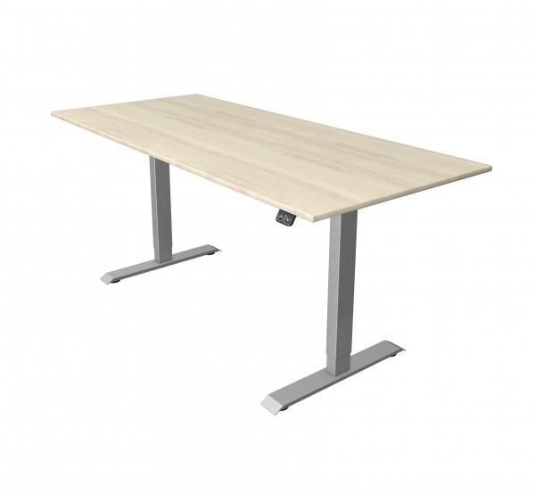 Elektrisch höhenverstellbarer Schreibtisch 180x80 Ahorn-Dekor silberfarbenes Tischgestell