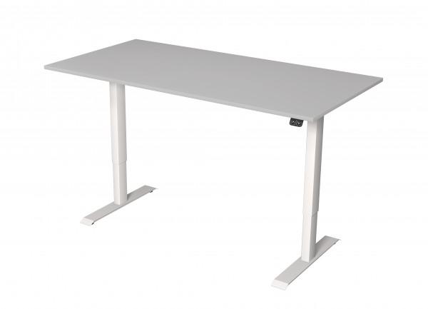 Elektrisch höhenverstellbarer Schreibtisch 160x80 hellgraues Dekor/ weißes Tischgestell