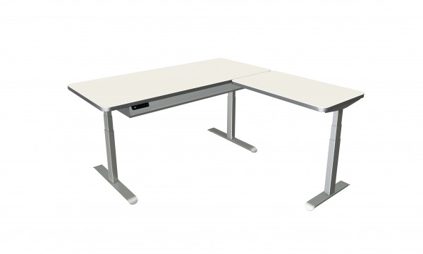 Elektrisch höhenverstellbarer Winkelschreibtisch 180x180 weiß