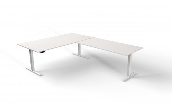 elektrisch höhenverstellbarer Winkelschreibtisch weiß Kerkmann Move 4 200x260