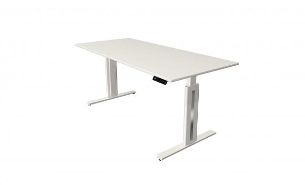 Elektrisch höhenverstellbarer Schreibtisch 180x80 in weiß mit weißem Tischgestell