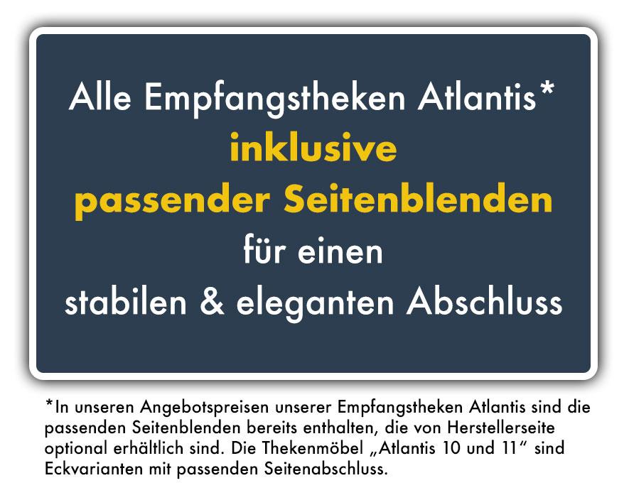 Empfangtheke Atlantis inklusive passenden Seitenblenden