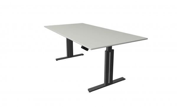 Elektrisch höhenverstellbarer Schreibtisch 200x100 in hellgrau mit anthrazitfarbenem Tischgestell