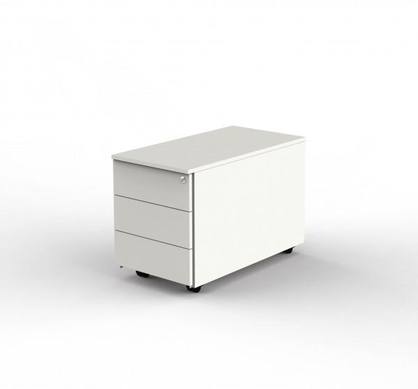Rollcontainer weiß mit 3 Schubladen und Zentralschloss