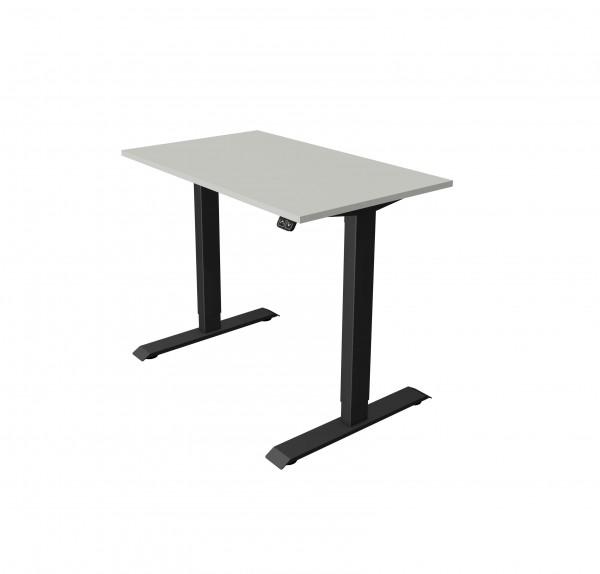 Elektrisch höhenverstellbarer Schreibtisch 100x60 hellgrau mit anthrazitfarbenem Gestell