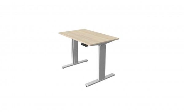 Elektrisch höhenverstellbarer Schreibtisch 100x60 in Ahorn-Dekor mit silberfarbenen Tischgestell