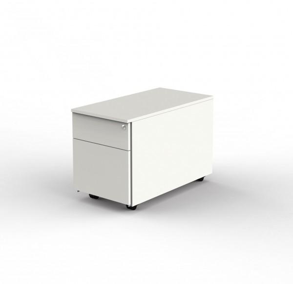 Rollcontainer weiß mit 1 Schublade, Hängeregister und Zentralschloss