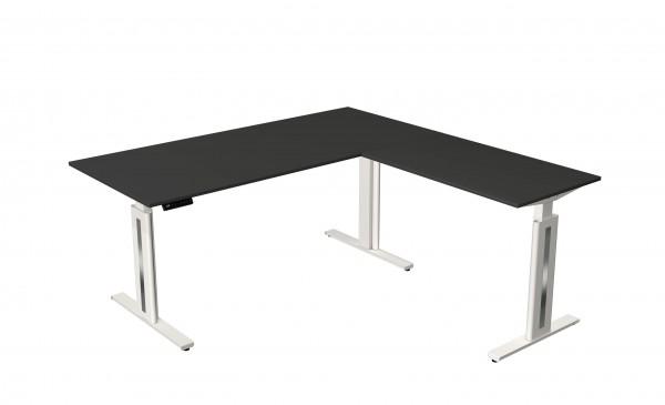 Elektrisch höhenverstellbarer Winkelschreibtisch 180x180 in anthrazit mit weißem Tischgestell