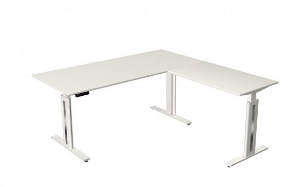 Elektrisch höhenverstellbarer Schreibtisch 180x180 weiß/ weiß
