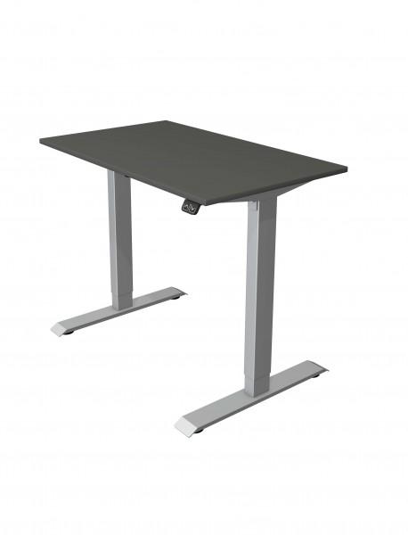 Elektrisch höhenverstellbarer Schreibtisch 100x60 anthrazit mit silberfarbenem Gestell