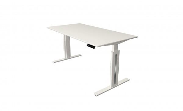 Elektrisch höhenverstellbarer Schreibtisch 160x80 weiß/ weiß