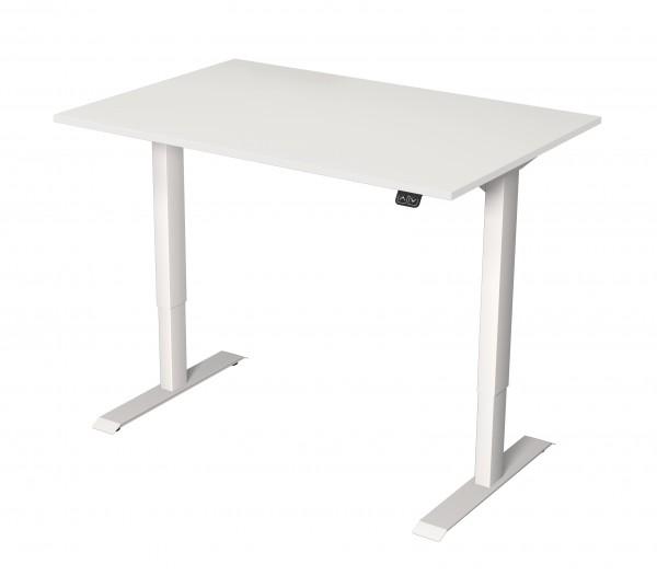 Elektrisch höhenverstellbarer Schreibtisch 120x80 weißes Dekor/ weißes Tischgestell
