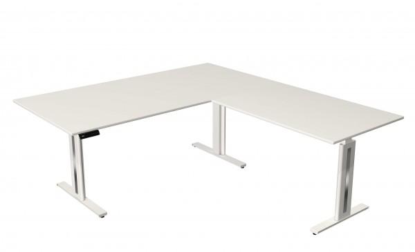Elektrisch höhenverstellbarer Winkelschreibtisch 200x220 in weiß mit weißem Tischgestell