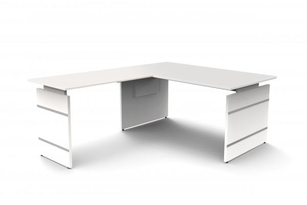 Kerkmann Winkelschreibtisch 160x180 mit Wangengestell in weiß