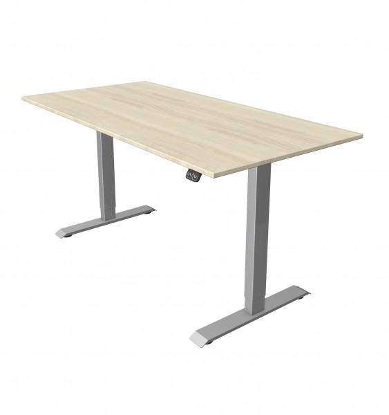 Elektrisch höhenverstellbarer Schreibtisch 160x80 Ahorndekor, silberfarbenes Tischgestell