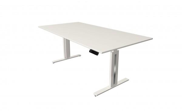 Elektrisch höhenverstellbarer Schreibtisch 200x100 in weiß mit weißem Tischgestell