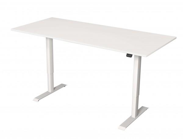 Elektrisch höhenverstellbarer Schreibtisch 180x80 weiß mit weißem Gestell