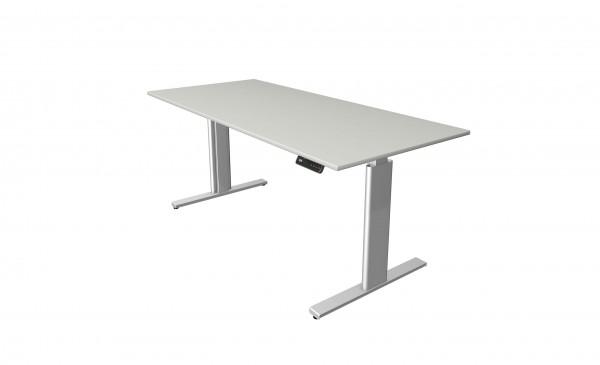 Elektrisch höhenverstellbarer Schreibtisch 180x80 in hellgrau mit silberfarbenem Tischgestell